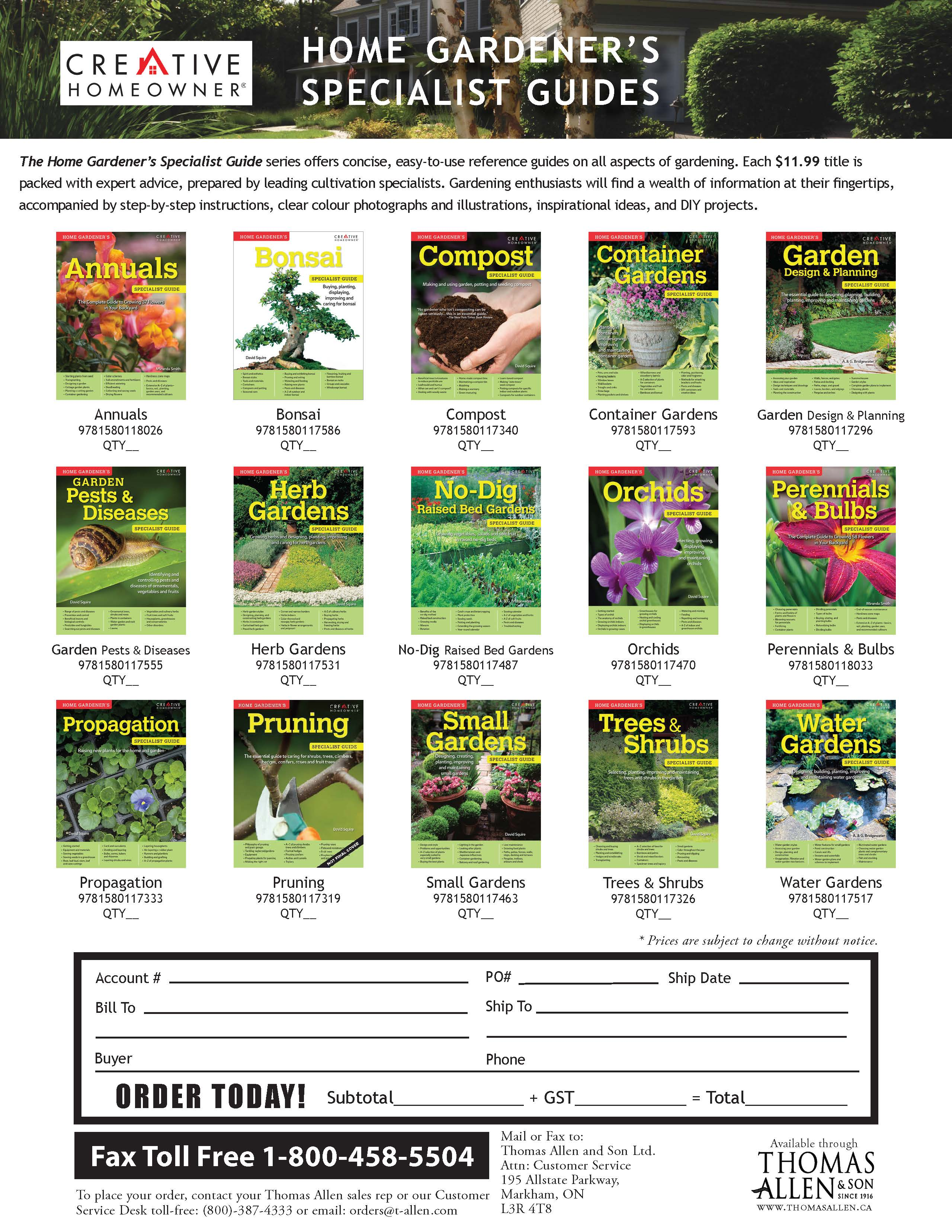 Home Gardener's Specialist Guides
